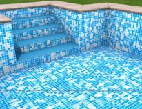 Wizualizacja - basen z membraną w wersji mozaiki jasnej.