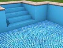 Basen łączony dno: membrana mozaika ciemna; ściany: klasyczna jednobarwna membrana niebieska.